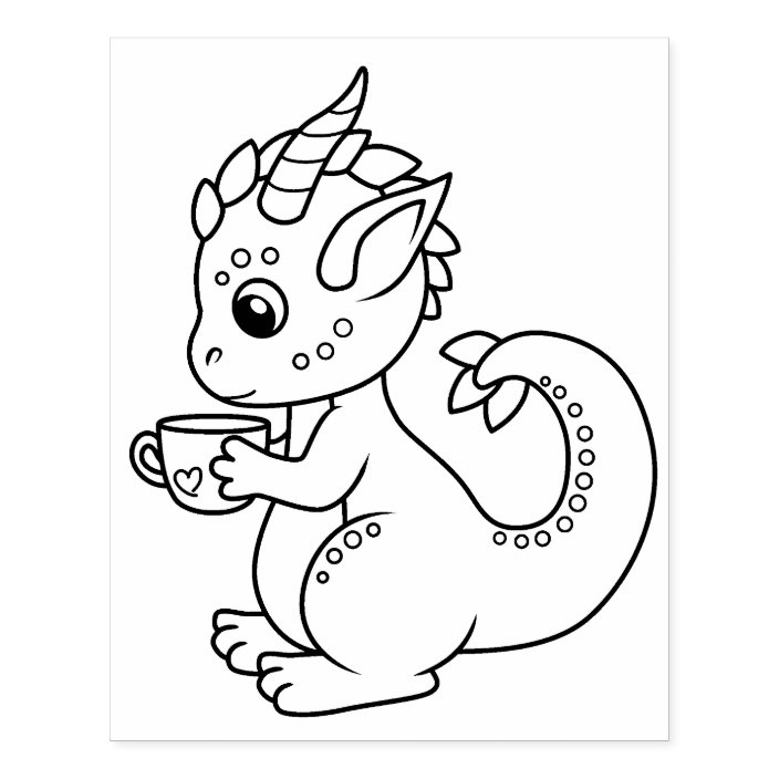 Cute Little Dragon Holding A Cup Coloring Page Rubber Stamp Zazzle Com
