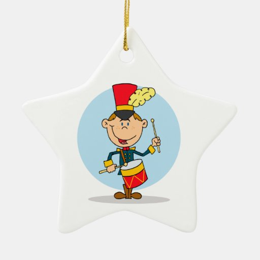 cute little drummer boy Double-Sided star ceramic christmas ornament