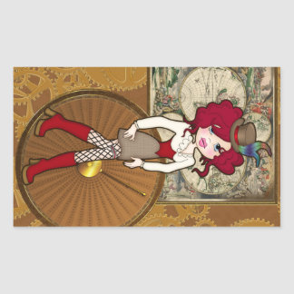 Cute Little Dteampunk Lady with Curly Red Hair Rectangular Sticker