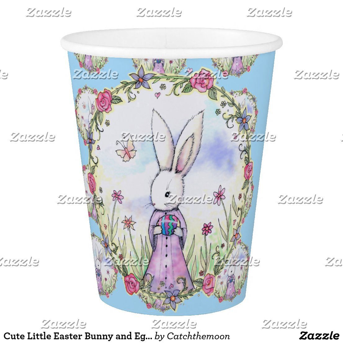 Cute Little Easter Bunny and Eggs Paper Cup