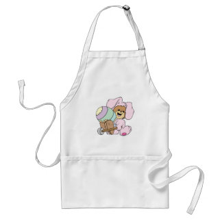 cute little easter bunny bear with giant easter eg aprons