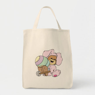 cute little easter bunny bear with giant easter eg canvas bags