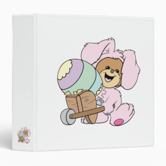 cute little easter bunny bear with giant easter eg 3 ring binder
