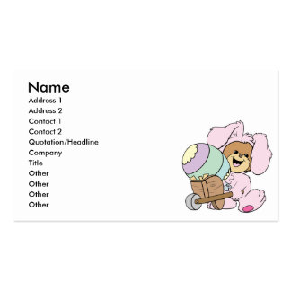 cute little easter bunny bear with giant easter eg business cards