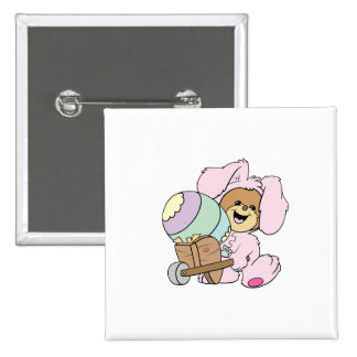 cute little easter bunny bear with giant easter eg pinback button