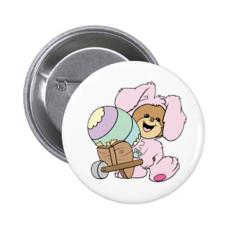 cute little easter bunny bear with giant easter eg button