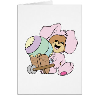 cute little easter bunny bear with giant easter eg cards