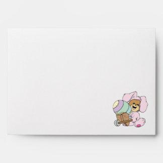 cute little easter bunny bear with giant easter eg envelope