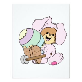 cute little easter bunny bear with giant easter eg personalized invite