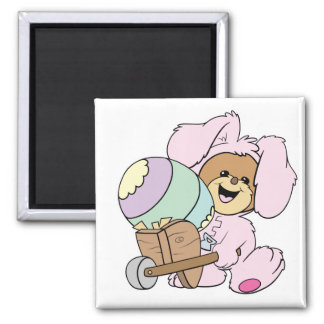 cute little easter bunny bear with giant easter eg refrigerator magnets