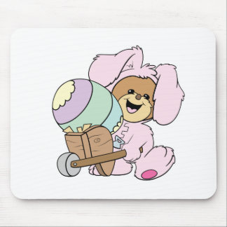 cute little easter bunny bear with giant easter eg mouse pad