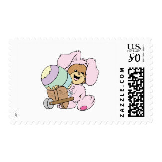 cute little easter bunny bear with giant easter eg postage