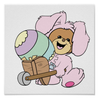 cute little easter bunny bear with giant easter eg print