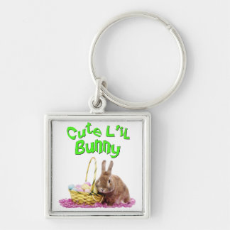Cute Little Easter Bunny with Easter Eggs Keychain