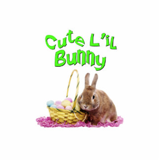 Cute Little Easter Bunny with Easter Eggs Standing Photo Sculpture