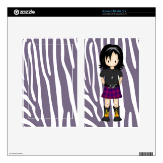 Cute Little Emo or Goth Girl Cartoon in Purples Kindle Fire Decals