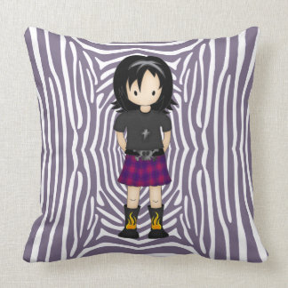 Cute Little Emo or Goth Girl Cartoon in Purples Pillow