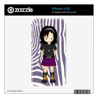 Cute Little Emo or Goth Girl Cartoon in Purples Skin For The iPhone 4