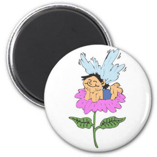 cute little faery on flower 2 inch round magnet
