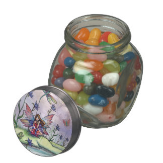 Cute Little Fairy and Dragonfly by Molly Harrison Jelly Belly Candy Jars