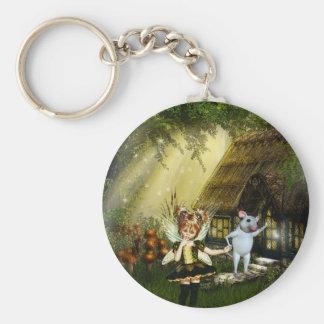 Cute Little Fairy Basic Round Button Keychain