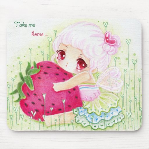 Cute little fairy/girl with strawberry mouse pad
