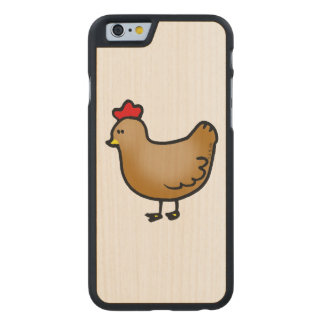 cute little farm chicken hen carved maple iPhone 6 case
