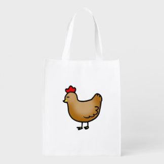 cute little farm chicken hen grocery bags