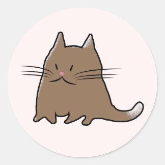 Cute Little Fat Kitty Cat Classic Round Sticker
