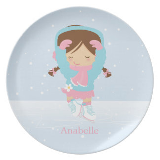Cute Little Figure Skater Personalized Dinner Plate