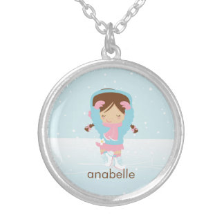 Cute Little Figure Skater Silver Plated Necklace