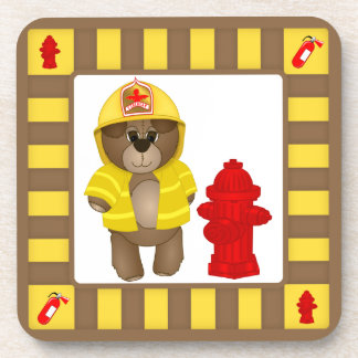 Cute Little Firefighter Kids Teddy Bear Mascot Beverage Coaster