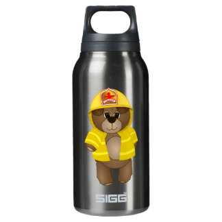 Cute Little Firefighter Kids Teddy Bear Mascot Insulated Water Bottle