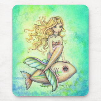 Cute Little Fish and Mermaid Fantasy Art Mouse Pad