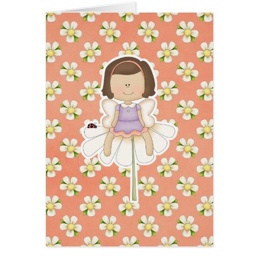 Cute Little Flower Fairy Girl Greeting Card
