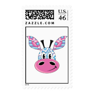 Cute Little Flower Giraffe Postage Stamp