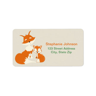 Cute little fox and Mom Address Labels