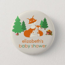 Cute Little Fox and Mom Baby Shower Button