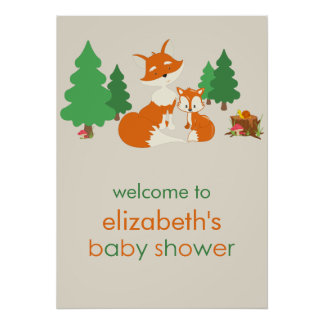 Cute Little Fox and Mom Baby Shower Poster