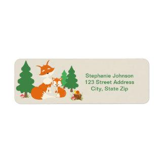 Cute little fox and Mom Return Address Labels