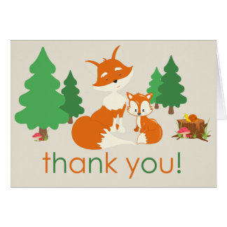 Cute Little Fox and Mom Thank You Card