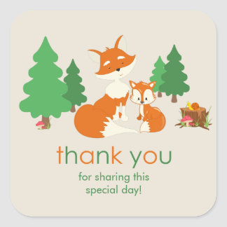 Cute little fox and Mom Thank You Sticker