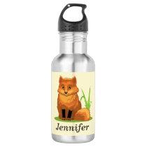 Cute Little Fox Back to School Water Bottle