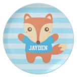 Cute little fox, Blue Stripes, For Boys Party Plates
