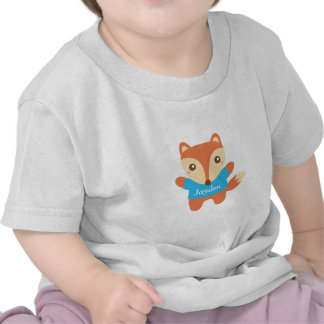 Cute little fox in blue, for baby boy t-shirts