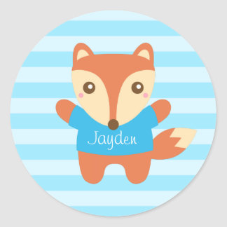 Cute little fox in blue, for Kids Classic Round Sticker
