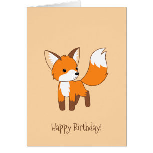 Cute chibi cartoon cards greeting photo cards zazzle cute little fox on cream birthday card bookmarktalkfo Image collections