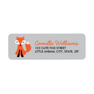 Cute little fox on gray background label