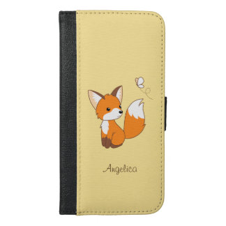 Cute Little Fox Watching Butterfly iPhone 6/6s Plus Wallet Case