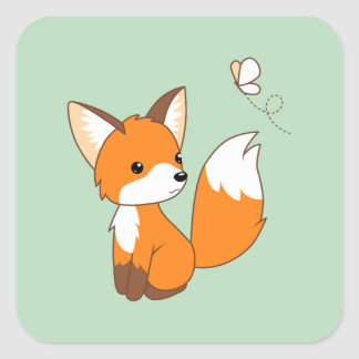 Cute Little Fox Watching Butterfly on Green Square Sticker